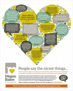 Megan Baker Estate Agents let's talk advert design