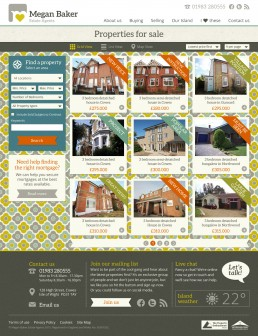 Megan Baker Estate Agents Website Design property grid
