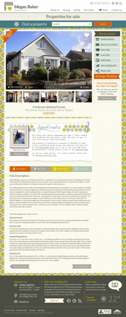 Megan Baker Estate Agents Website Design property selected