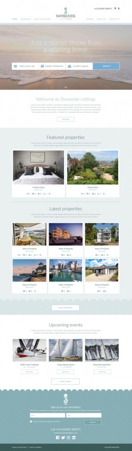 Shoreside Lettings Website Design – Home page