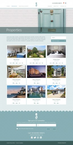 Shoreside Lettings Website Design – property archive page