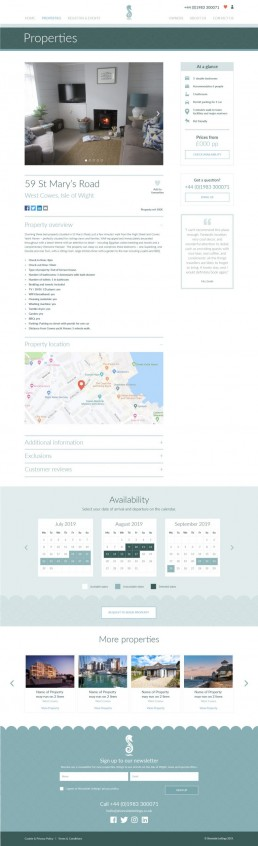 Shoreside Lettings Website Design – property selected page