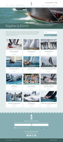Shoreside Lettings Website Design – regatta archive page