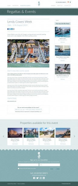 Shoreside Lettings Website Design – regatta selected page