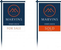 Marvins Estate Agents sale board design