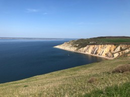 Looking back at the Alum Bay cliffs