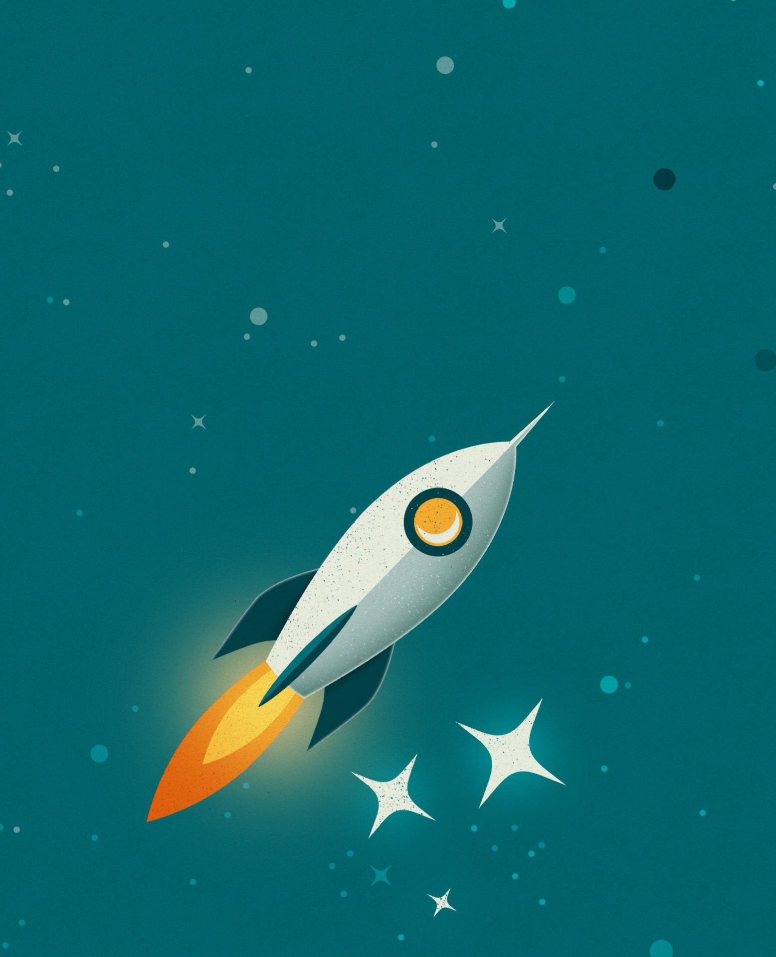 Rouse Limited Rocket in space illustration for tablet