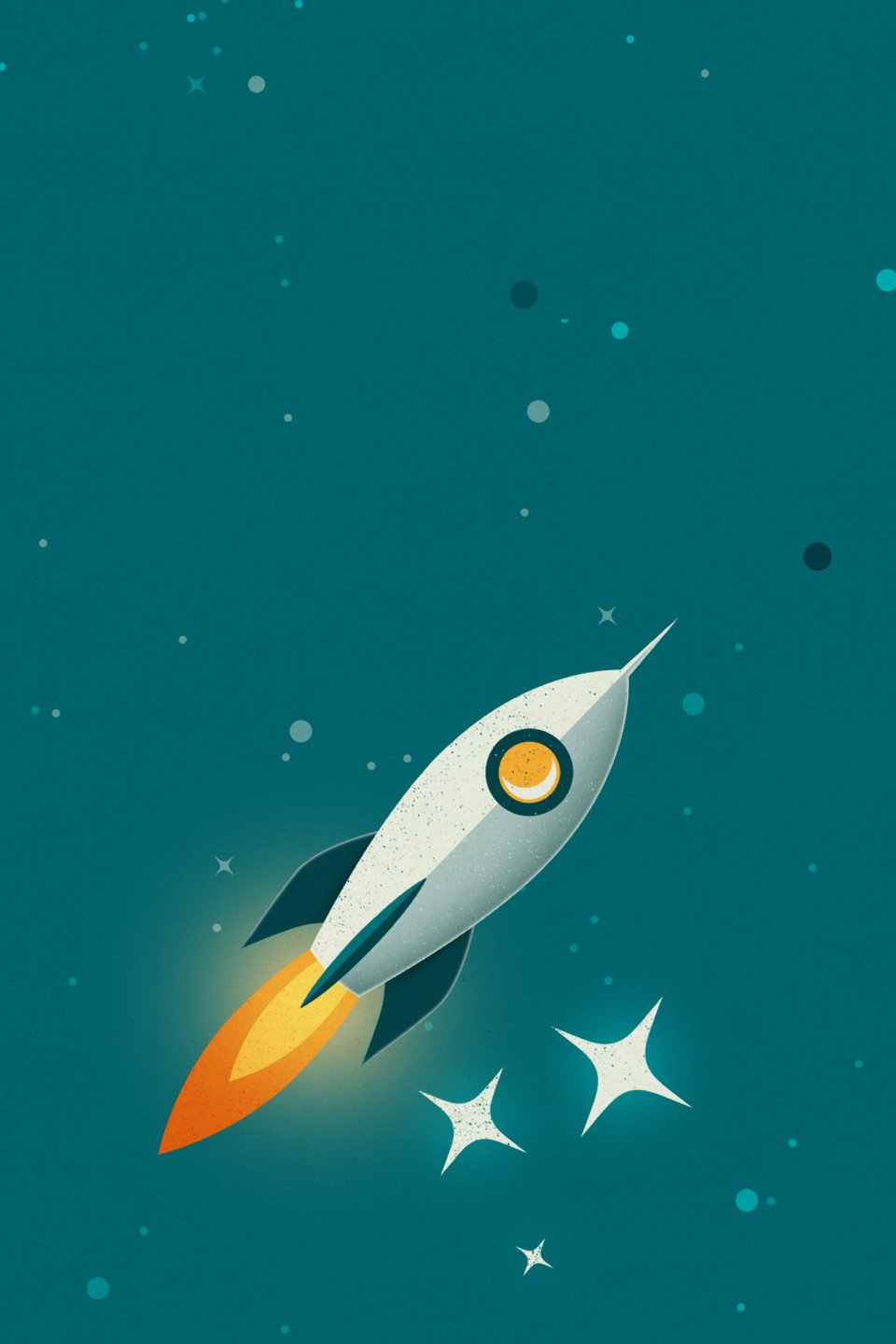 Rouse Limited Rocket in space illustration for mobile