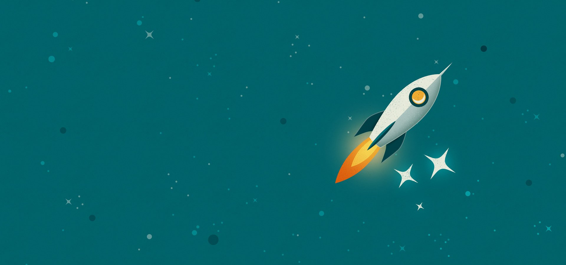 Rouse Limited Rocket in space illustration for desktop
