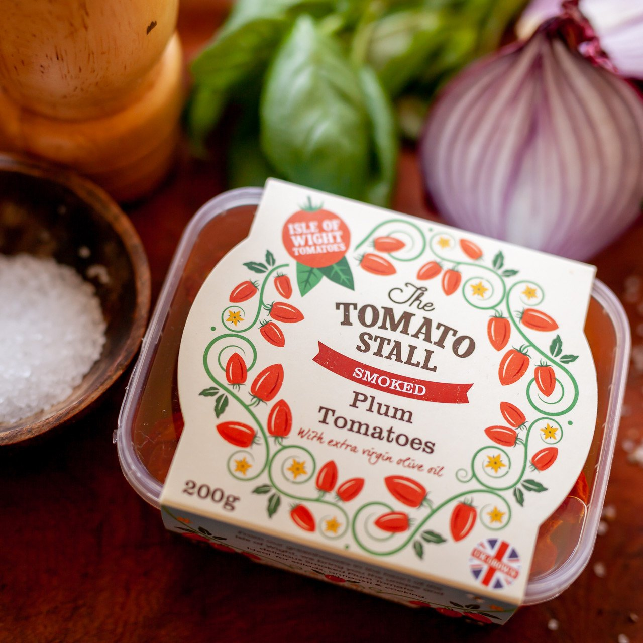 Tomato Stall Roasted Plum Tomatoes packaging design